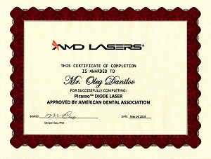 The certificate for successfully completing: Picasso Diode Laser approved by American Dental Association, May 14, 2019